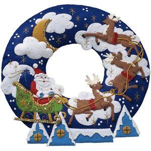 "Bucilla NEW RELEASE SANTA ""OVER THE ROOFTOP"" Felt Christmas Wreath Kit Reindeer"