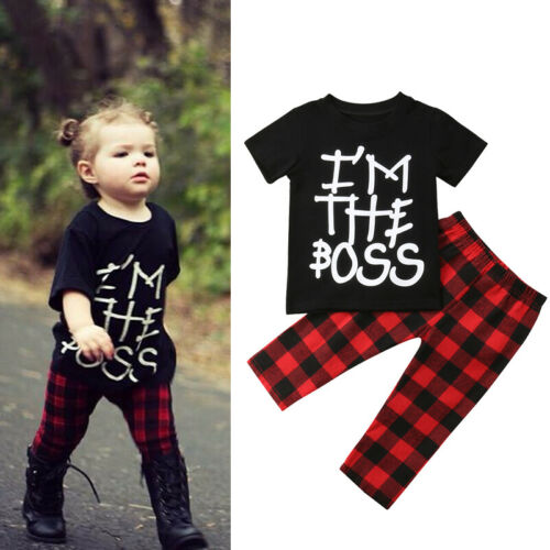 Summer Baby Girl Boy Kids Clothes T shirt Tops+Check Pants Outfits Casual Set US