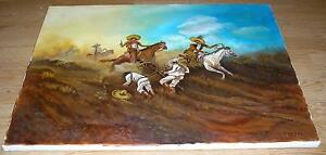 MEXICAN INDIAN WAR COWBOYS HORSES CANON LANDSCAPE HISTORIC OIL ART PAINTING