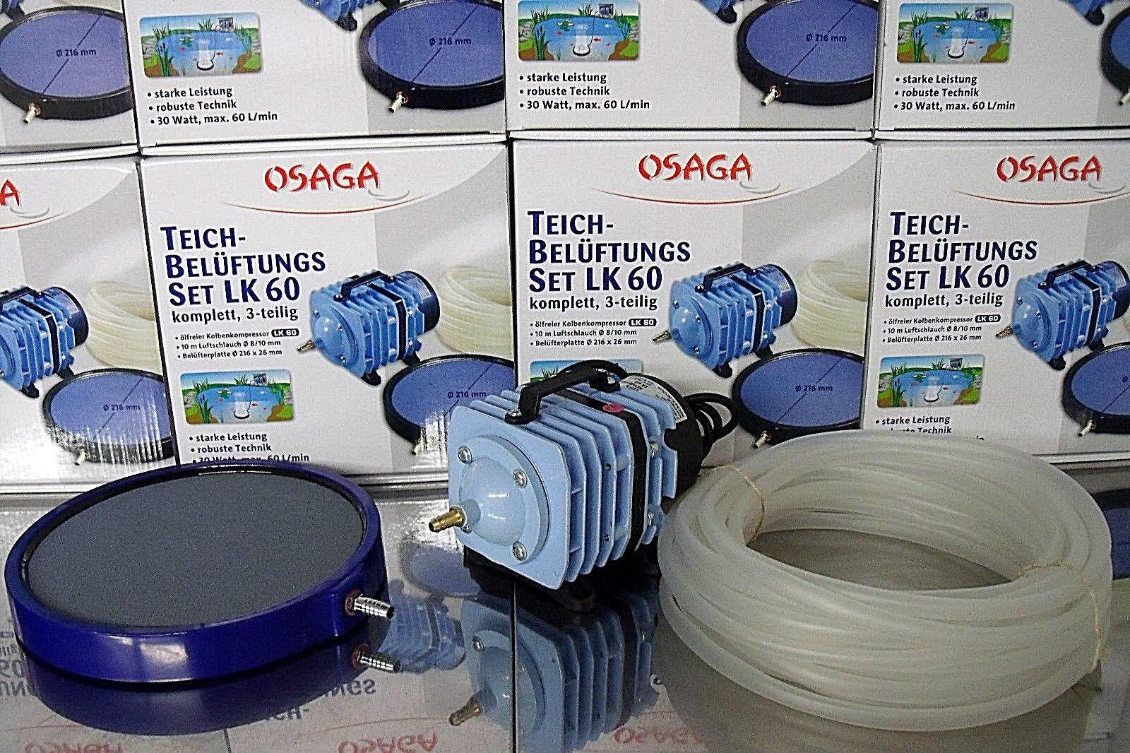 Osaga LK-60 Set Sauerstoffpumpe Teichbelüfter Belüfter Ausströmer Platte Ø 20 cm