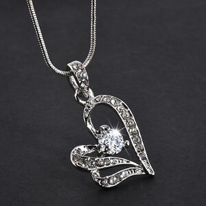 Women-Heart-Crystal-Rhinestone-Silver-Chain-Pendant-Necklace-Fashion-Jewelry