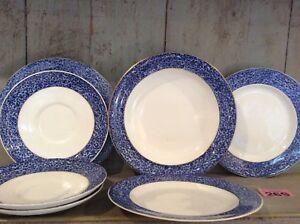 Vintage-Royal-Worecester-Plates-amp-Bowl-Chintzy-Blue-Floral-Border-Mid-Century