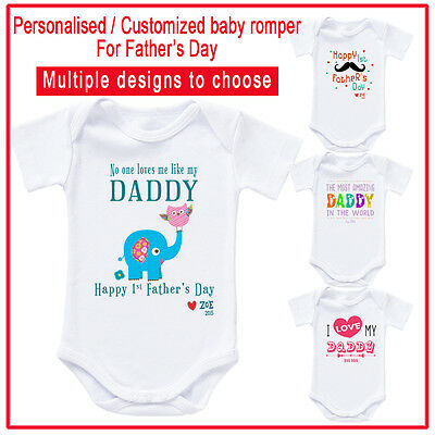 Happy 1st First Fathers Day Daddy Boys Funny Baby Vest Bodysuit Baby Grow Gift
