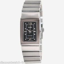 Casio LTP1356D-1A Ladies Silver Stainless-Steel Quartz Watch with Black Dial