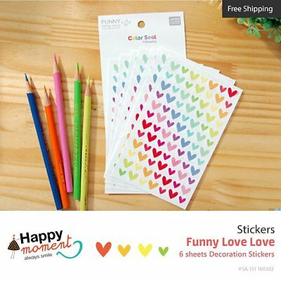 Funny Love Love Stickers Crafting Kawaii Masking Journal Assortment 6 sheets