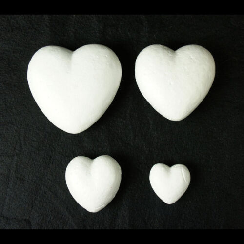 12pc White 3D Polystyrene Heart Shaped Foam Valentines Day Crafts Wedding Favors