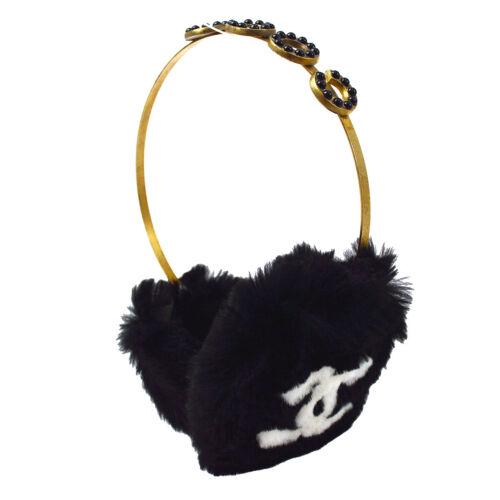 CHANEL CC Logos Ear Muffs Ear Warmers Fur Cold 01A