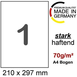 50 Etiketten DIN A4 selbstklebendes Papier 210x297mm Format wie Herma 4428 8637