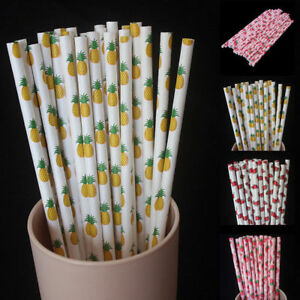 25pcs-Fruit-Biodegradable-Paper-Drinking-Straws-Striped-Birthday-Party-Wedding