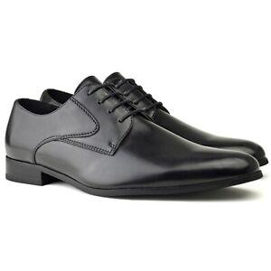 Mens Smart Black Faux Leather Formal
