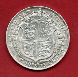 1915 GEORGE V, HALF CROWN STERLING SILVER COIN. HALFCROWN. 2/6.