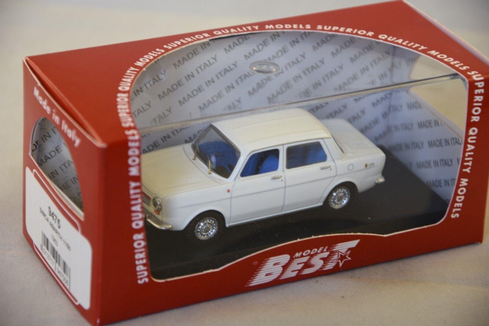 Best model 9475-simca 1150  abarth blanc - 1963 1 43  à la mode