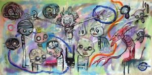 GUS-FINK-art-ORIGINAL-painting-outsider-Abstract-Ooak-lowbrow-ENERGY-OF-UNIVERSE