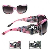 Montana West Camouflage Cross Concho Sunglasses Rhinestones Pink Green Camo