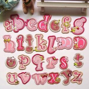 Alphabet-26-Letters-Embroidered-Sew-On-Iron-On-Patch-Badge-Fabric-Applique-Craft