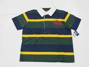 New-tag-Boys-RALPH-LAUREN-Navy-Blue-Green-Short-Sleeve-Polo-Shirt-2T-Big-Pony