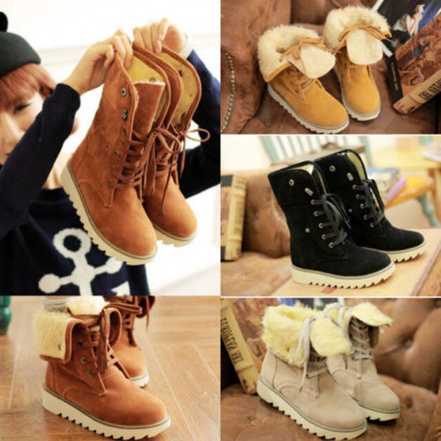 Fashion Womens Ankle Winter Boots Lace Up Shoes Flats Round Toes Warm Heels