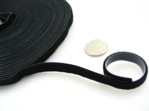 black Self Adhesive Hook and loop double sided Strapping sew on cable organiser
