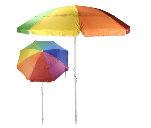 multicolores Parasol plage parapluie avec schraubdorn 190 cm de diamètre haut uv 50