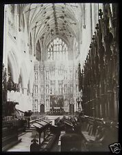 CRACKED Glass Magic Lantern Slide WINCHESTER CATHEDRAL CHOIR LOOKING E C1890