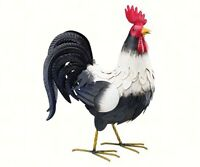 Black And White Rooster Large Metal Yard Art