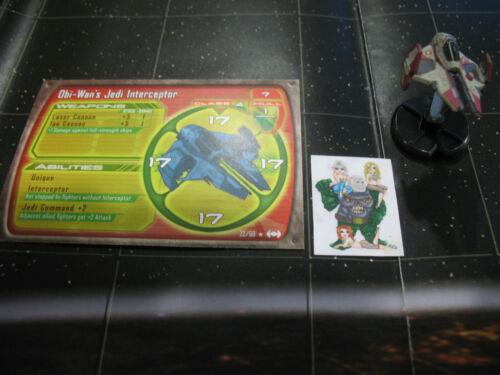 Star Wars Miniatures Starship Battles Obi-Wan/'s Jedi Interceptor with card 22//60