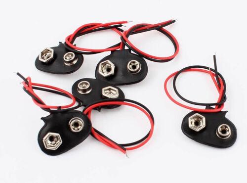 5 Stück Batterieclip 9V Clip Block Batterie mit Anschlußkabel NEU Kabel