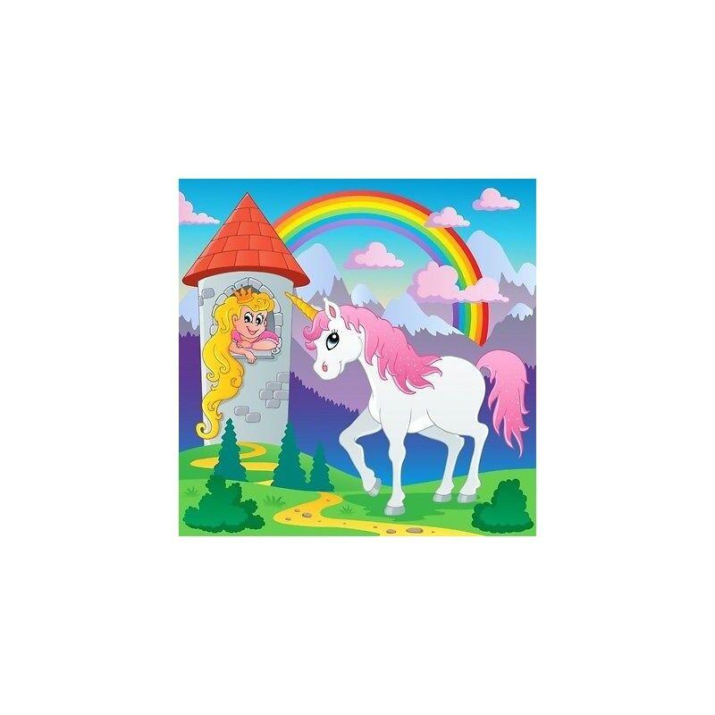 Carta Dipinto Bambino Gigante Unicorno Principessa 3685