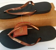 b24bc42464e8f5 HAVAIANAS Real NEW Ladies Slim THONGS FLIP FLOPS black copper METAL LOGO  Surf