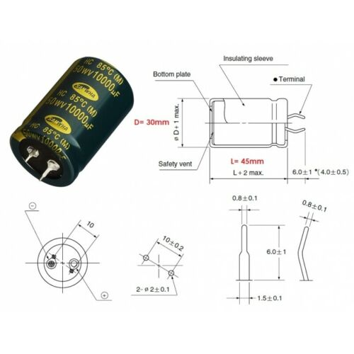 Samwha HC50 10000uF//50V condensatore elettrolitico snap-in HC1H109M30045HA