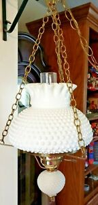 VTG-FENTON-WHITE-HOBNAIL-MILK-GLASS-HURRICANE-GLOBE-HANGING-LAMP-ELECTRIC-1950S