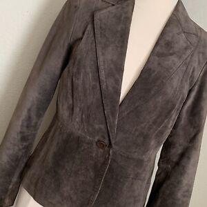 Vintage-Liz-Claiborne-Brown-Taupe-One-Button-Suede-Blazer-Coat-Jacket-Size-8