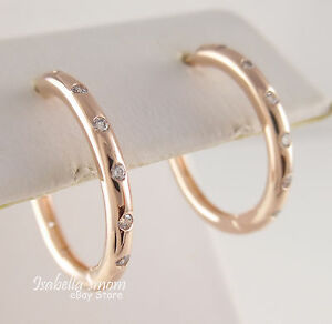 Image Is Loading Droplets Authentic Pandora Rose Gold Plated Hoop Earrings