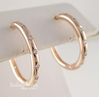DROPLETS Authentic PANDORA Rose GOLD Plated HOOP Earrings 286244CZ NEW w POUCH! | eBay