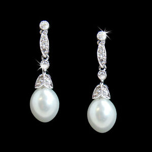 Details About Clic Bridal Pearl Drop Earrings Cubic Zirconia Rhodium Plate Wedding Earring