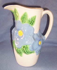 Tall-Blue-White-BIG-FLOWER-PITCHER-Vase-marked-ceramic-8-5-034-tall-spring-look-32