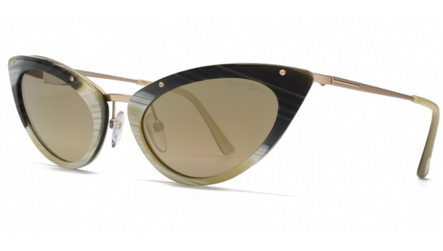TOM FORD GRACE TF349 64J Ladies CAT EYE Sunglasses OLIVE GREEN HORN GOLD MIRROR