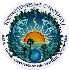 Renewable Energy - Sun Wind Geothermal Water Biomass Window Sticker / Decal