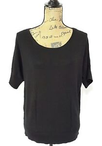 Ann-Taylor-womens-XL-classic-black-scoop-neck-ribbed-short-sl-top-blouse-work