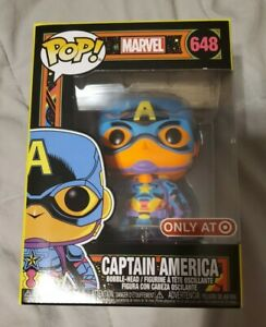 CAPTAIN-AMERICA-FUNKO-POP-Marvel-648-Black-Light-Target-Exclusive