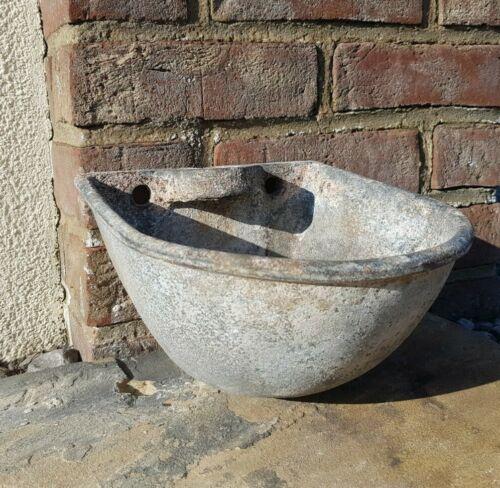 Vintage Galvanised Planters Bird Bath Decorative Salvage Wall Mounted Drinker