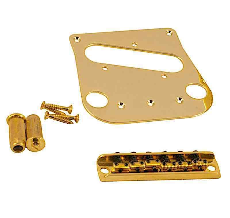 Tele to Bigsby B5 50 WD Conversion Kit  Bridge 6 Saddles + Pickup Plate Gold