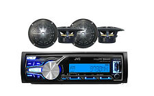 "KDX31MBS JVC Marine Boat Yacht AUX/USB AM/FM Bluetooth Radio,  4"" Black Speakers"