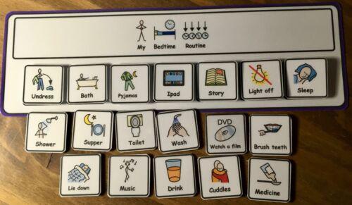 Evening//bedtime rutina Visual aid//support /& 18 símbolos para autism//adhd//asd Sen