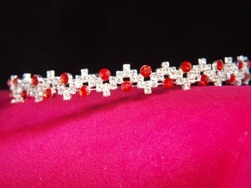 Bridesmaid Prom Pink Purple Blue Red Crystal Siver Headband Tiara Wedding T079