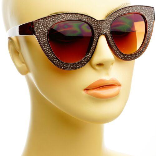 Designer Fashion Womens Retro Vintage Cat Eye Sunglasses Shades Brown