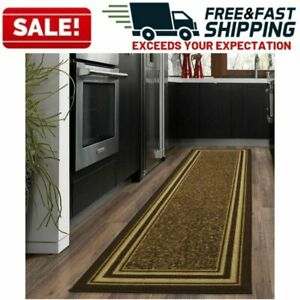 Non-Slip-Carpet-Runners-Long-Modern-Design-Rugs-Hallway-Area-Rubber-Mat-Brown
