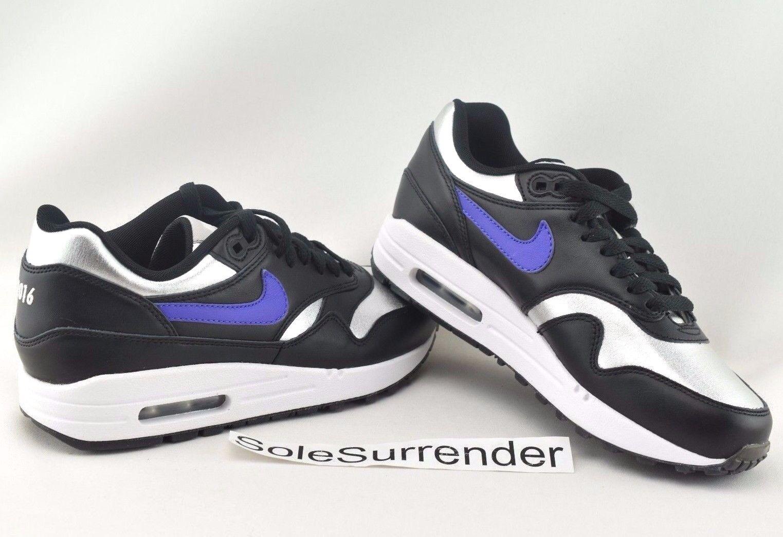 Women's Nike Air Max 1 ID Premium - SIZE 7 - 823375-993 Metallic Silver Purple Casual wild