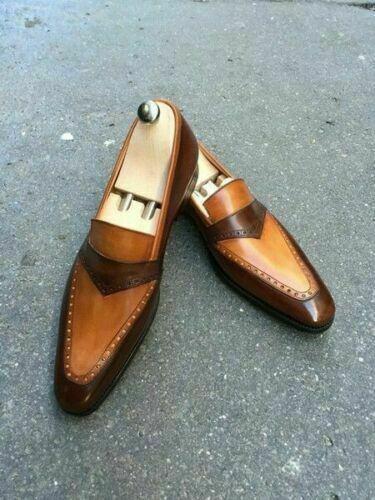 Handmade Men/'s Loafer Shoes,Men/'s Plain Brown Tan leather Formal Loafer Shoes