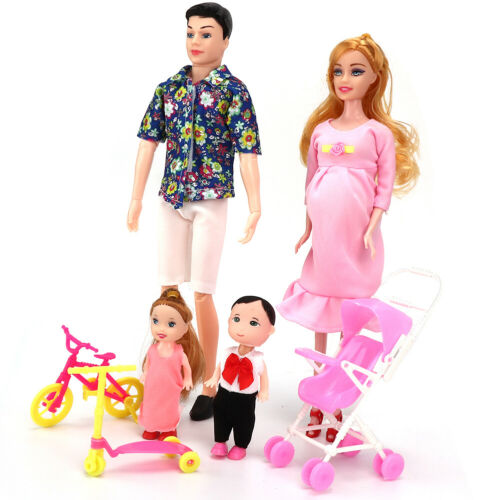 Family Dolls Set of Dad Pregnant Mom Girl Boy Children Role Play House